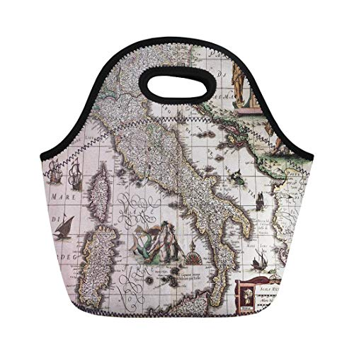 - Semtomn Neoprene Lunch Tote Bag Italy Old Map Created By Henricus Hondius Published Reusable Cooler Bags Insulated Thermal Picnic Handbag for Travel,School,Outdoors, Work