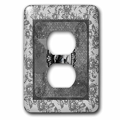- 3dRose lsp_272637_6 Cameo in Oval Vintage Frame, Abstract Brown Design, Flowers, Gray Plug Outlet Cover Mixed