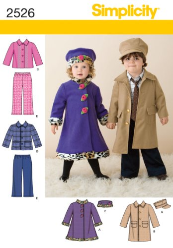 (Simplicity Pattern 2526 Toddlers' Coats, Jacket, Pants and Hats, Sizes 1/2-1-2-3-4)