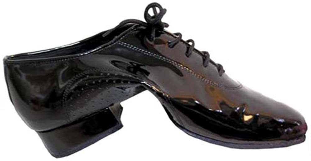 Mens Professional Black Patent Leather Flex Split Sole with 1 Standard Heel