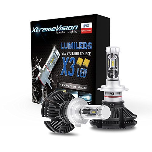XtremeVision X3 50W 12,000LM - H7 LED Headlight Conversion Kit - 3000K 6500K 8000K PHILIPS ZES LED - 2018 Model