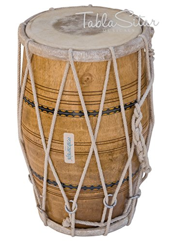 Maharaja Musicals Dholak/Dholki Drum, Natural, Mango Wood, Rope-tuned, Padded Bag, Spanner (PDI-AJE) by Maharaja Musicals