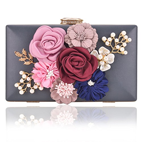 Gold Grey Pearl - Women Flower Clutches Handbags Designer Evening Bags Prom Party Wedding Cocktail Purses with Pearls Beaded (Grey)