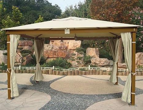 Gazebo in legno con finitura miele 3x4 mt con tende parasole