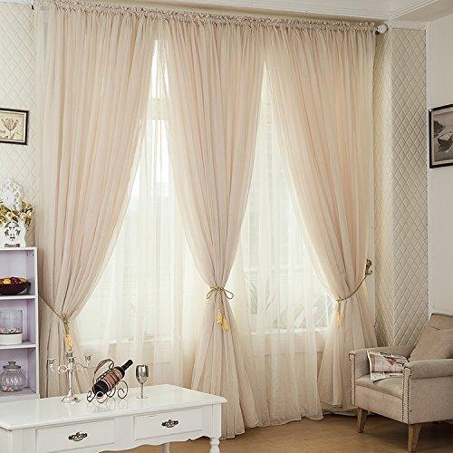 Champagne Color Linen Blend Sheer Curtain Custom Window Door Drapery( Rod  Pocket Top)