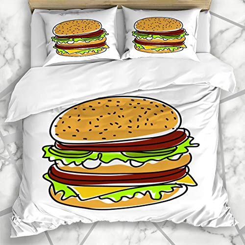 Ahawoso Duvet Cover Sets King 90x104 Red American Hamburger Burger Food Drink Salad Macdonald Beef Box Bread Bun Design Sandwich Microfiber Bedding with 2 Pillow Shams