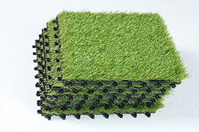ECOMATRIX Artificial Grass Tiles PP Interlocking Grass Decking Tiles, Fake grass Turf Tiles, 1'x1'