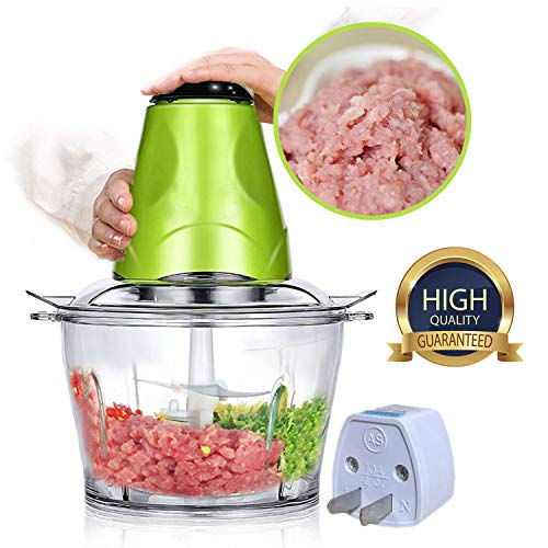 (Food Chopper Electric,Meat Grinder Machine Kitchen Aid,Mini Food Processor 2L Bowl Grinder for Meat, Vegetables, Fruits and Nuts Chopper 220V-50 Hz Baby Food Sausage Casing BPA FREE Travel Adaptor)