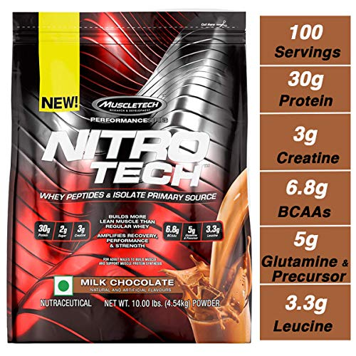 MuscleTech NitroTech Protein Powder Plus Muscle Builder, 100% Whey Protein with Whey Isolate, Milk Chocolate, 103 Servings (10lbs) (Best Whey Protein For Lean Muscle)