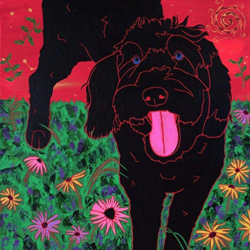 Black Labradoodle Golden Doodle Art - Dog Pop Art MaTTED Print by Angela Bond