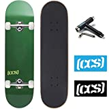 CCS Skateboard Complete - Color Logo and Natural Wood - Fully Assembled - Includes Skateboard Tool and Stickers (Evergreen, 7.0' (Mini/Kid's Size))