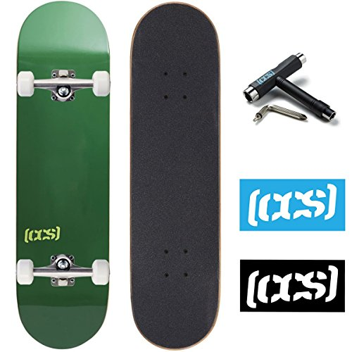 "CCS Skateboard Complete - Color Logo and Natural Wood - Fully Assembled - Includes Skateboard Tool and Stickers (Evergreen, 7.5"")"