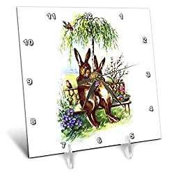 3dRose VintageChest - Easter - Two Rabbits on a Bench - 6x6 Desk Clock (dc_302604_1)