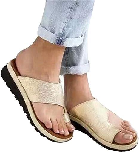 DAMAI Plataforma de Mujer Sandalia de cuña Zapatillas de juanete correctas para la corrección del Hueso del Dedo Gordo del pie, Zapatillas de Playa de Verano Zapatillas de Viaje,08,37: Amazon.es: Deportes y