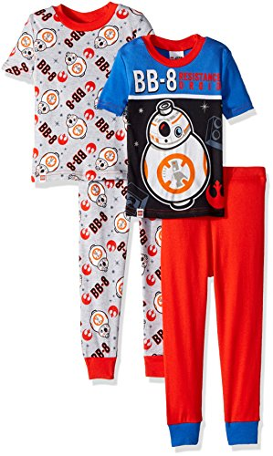 LEGO Star Wars Boys 4 Piece PJ Set,Short Sleeve Long Pant, Little Bb-8 Droid, Glow in The Dark, Black/Blue, Red