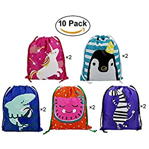 Party Favors Bags 10 Pack 5 Designs, Cartoon Gift Candy Drawstring Bags Pouch, Treat Goodie Bags for Kids Girls and Boys Birthday