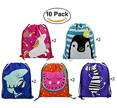 Party Favors Bags 10 Pack 5 Designs, Cartoon Gift Candy Drawstring Bags Pouch, Treat Goodie Bags for Kids Girls and Boys - Pink Kids Bag