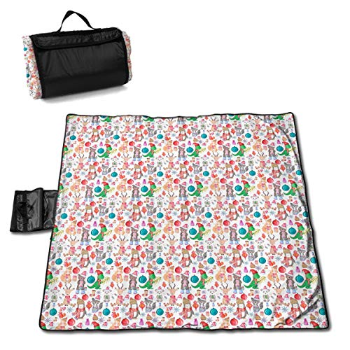 FUNMAX Dinosaur Christmas Snowman Picnic Traditions Large Blanket Water Resistant Tote Great for Camping On Grass at The Beach at Stadiums Durable Mat Has Waterproof Backing