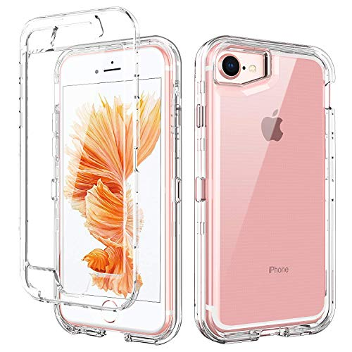 iPhone 8 Case,iPhone 7 Case,iPhone 6S Case,iPhone 6 Case,BENTOBEN Transparent Clear Heavy Duty Rugged Full Body Shockproof 3 in 1 Hard PC Soft TPU Bumper Protective Phone Case Cover, Crystal Clear