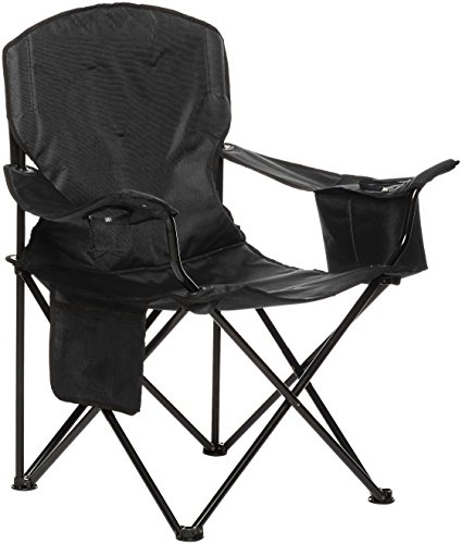 AmazonBasics Camping Chair with Cooler, Black (Padded) - XL