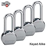 Master Lock - (4) High Security Pro Series Keyed Alike Padlocks 6230NKALH-4 w/ BumpStop Technology
