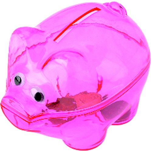 Miniature Translucent Pink Plastic Piggy Savings Money Coin Bank