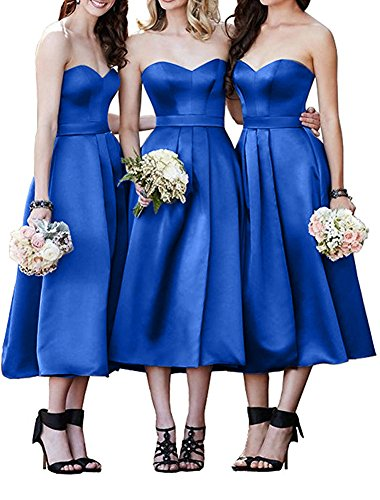 Strapless Bridesmaid Dress Sweetheart A-Line Satin Homecoming Dresses Tea Length ()