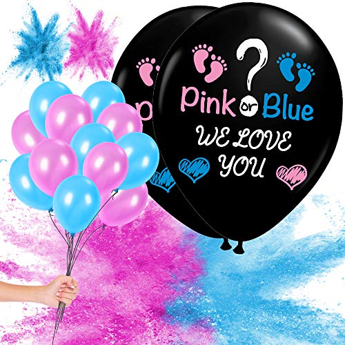 Gender Reveal Balloon Powder Decoration - 2X Jumbo 36inch Balloons - Great for Baby Shower and Gender Reveal Party Supplies - Includes Pink and Blue Powder - 10 Blue and 10 Pink 12inch Balloons