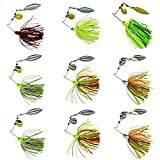 Shaddock Fishing 10Pack 18.4g/0.64oz Mixed Colors Fishing Hard Spinner Baits Lures Kit Spinnerbait