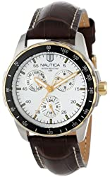 """Nautica Men's N11502G """"Windseeker"""" Stainless Steel Watch with Brown Leather Band"""