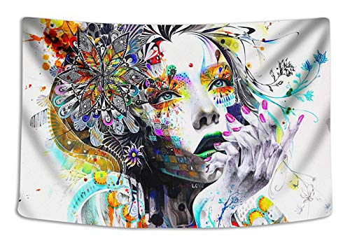 Tapestry Wall Cloth Fabric Hanging Bohemian For Bedroom Dorm Apartment Decoration Live Background Psychedelic Trippy Colorful Trippy Surreal Abstract Astral Digital Hemp Art 229x153cm(90x60inch)(026) ()