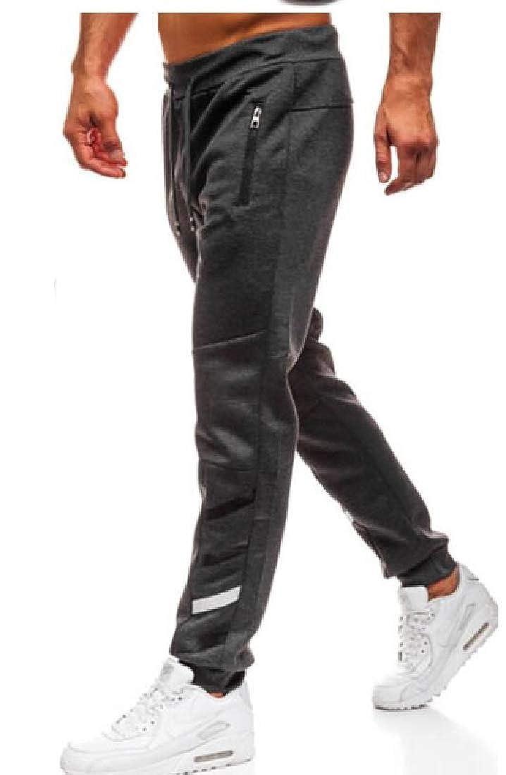 Wofupowga Mens Running Jogging Elastic Waist Drawstring Trousers Sport Pants