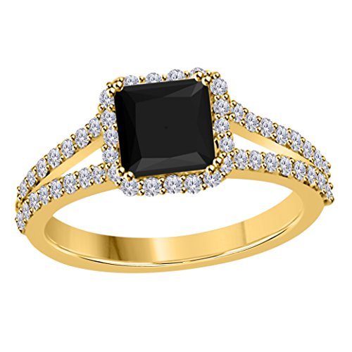 DreamJewels 2.00 Ct Princess Cut Halo Pave Eternity Lab Created Black Sapphire & White CZ Twist Shank Engagement Ring in 14k Yellow Gold Plated Size 4-12