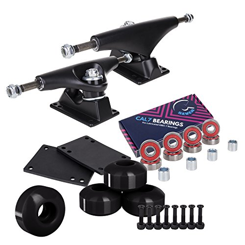 Cal 7 Skateboard Package | Complete Combo Set with 139 Millimeter / 5.25 Inch Aluminum Trucks, 52mm 99A Wheels & Bearings (Black Truck + Black Wheels)
