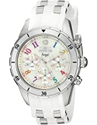 Invicta Womens Angel Quartz Stainless Steel and Silicone Casual Watch, Color:White (Model: 24903)