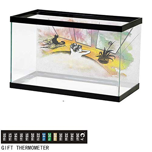 (Jinguizi ModernAquarium BackgroundGirl with Cat Taking Bath Spa Aroma Theraphy Relaxing Peaceful Massage Illustration48 L X 20