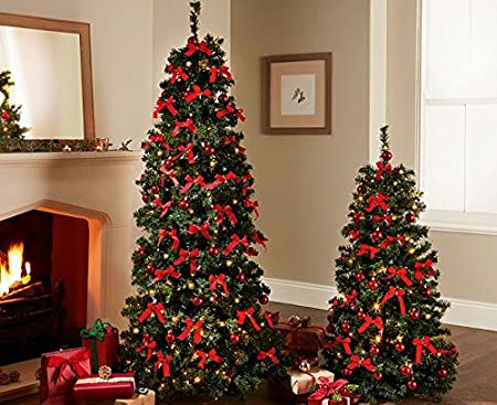 pop up christmas tree xmas festive home decoration 6ft led lights foldable