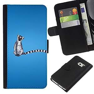 A-type (Madagascar Mono divertido) Colorida Impresión Funda Cuero Monedero Caja Bolsa Cubierta Caja Piel Card Slots Para Samsung Galaxy S6 EDGE (NOT S6)