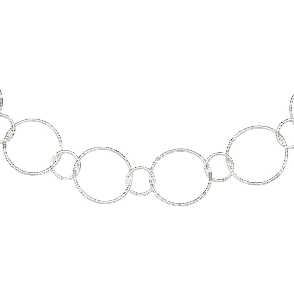 Designs by Nathan Sterling Silver Fancy Round Link Necklace 19mm (About 6/8'') (Length sizes vary) (18'' (About 441mm))