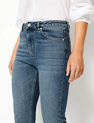 Ex M/&S Ladies Per Una Mid Rise Straight Leg Stretch Cropped Jeans Marks Spencer