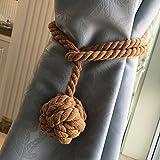 Yeexue American Hand Knitting Curtain Rope Tiebacks Rural Cotton Tie (One Pair, Coffee)