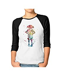 Dobby Harry Potter Womens 3/4 Sleeve Raglan Tee Shirts Printed