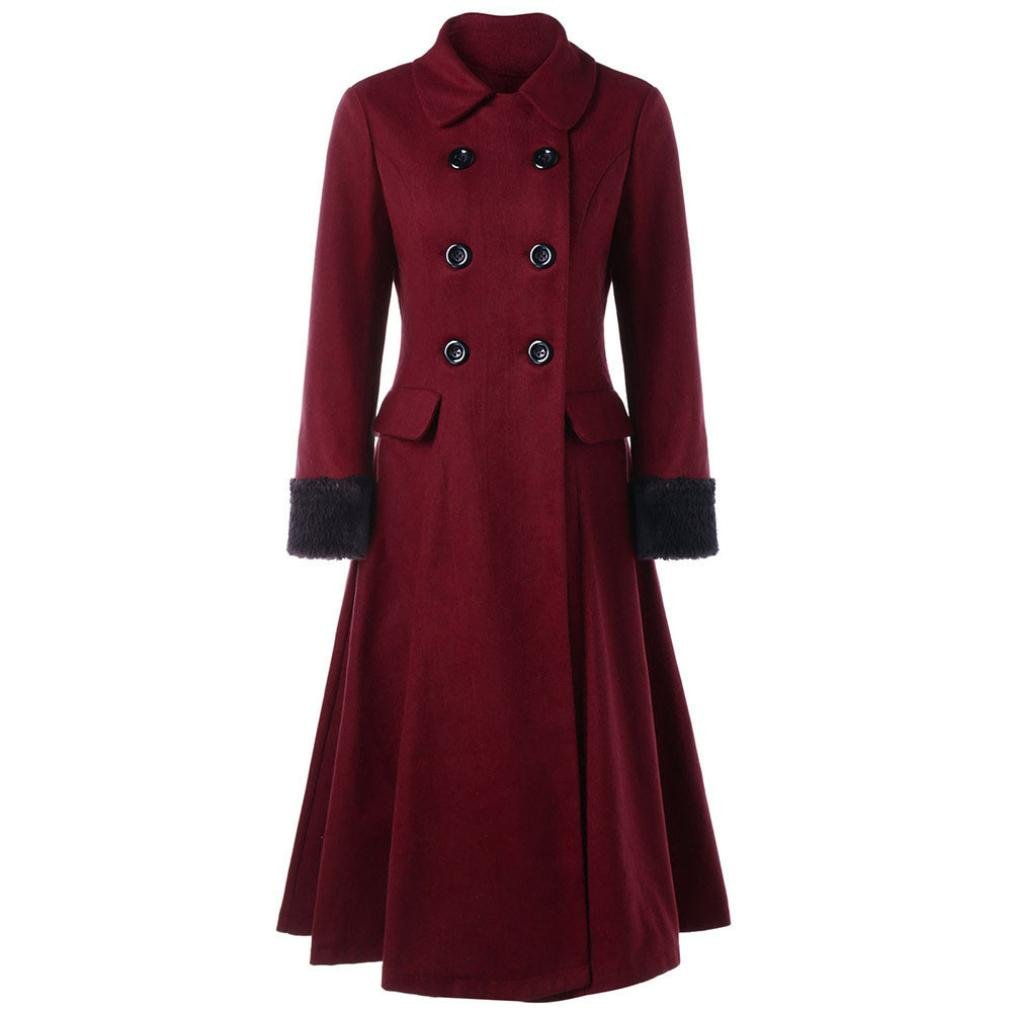 Muium Womens Ladies Warm Double-Breasted Wool Blend Coats Collar Slim Trench Long Jacket Outwear
