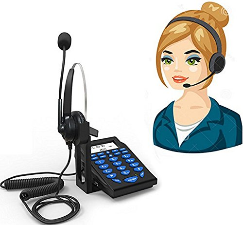 Valoin Hands-free Corded Phone Dialpad with Noise Cancellation Headphone for House Call Center and Office Business