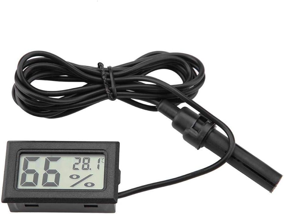 Smandy Mini termómetro Higrómetro, Pantalla LCD Digital integrada Medidor de Humedad y medidor Medidor con sonda Externa para incubadoras, criadores, Tanque de Reptiles, Acuario, Tanque de Peces