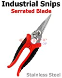 8'' Stainless Steel Professional Industrial Straight Cut Snips/Scissors / Shears Serrated Blade Precision Ground Multi-Purpose Safety Lock Cutting Tool Super-Deals-Shop