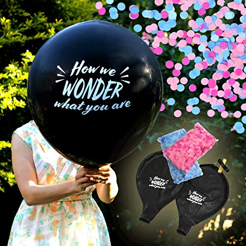 Gender Reveal Kit with Giant 36 Inch Black Balloons - 'How We Wonder What You are' Message with Blue and Pink Confetti - by Dilla Co. Decoration for Boy or Girl Baby Announcement Shower