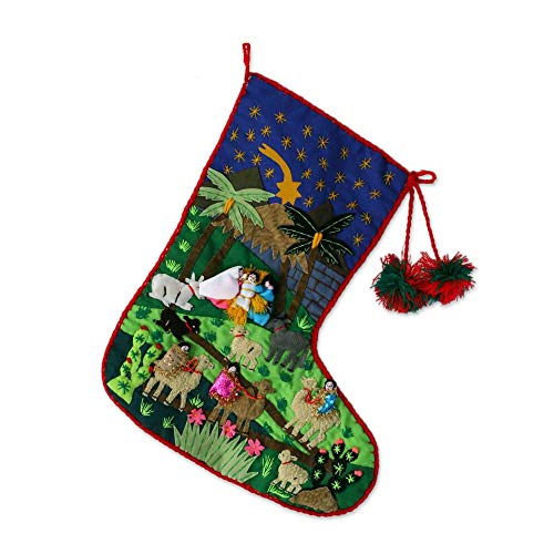 - NOVICA Handmade Applique Cotton Christmas Holiday Stocking, Visit of The Magi'