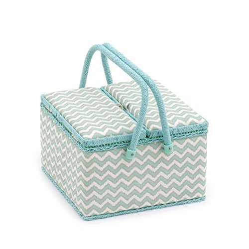 Hobby Gift 'Scribble Chevron - Mint Green & Gold' Twin Lid Large Square Sewing Box 25 x 25 x 17cm (d/w/h) by Hobby Gift