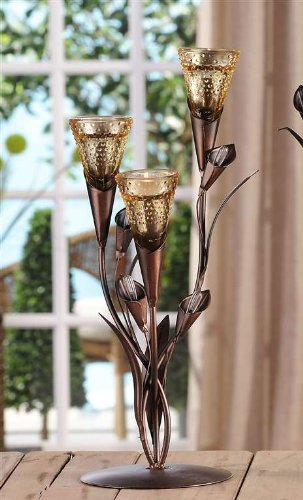 (Giftcraft Calla Lily Sculpture 3 Tea Light Candle Holder)